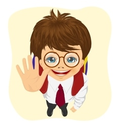 schoolboy with glasses showing five fingers vector image