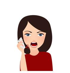 woman complain on phone angry complain upset vector image