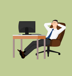 businessman sitting behind the table and relaxing vector image
