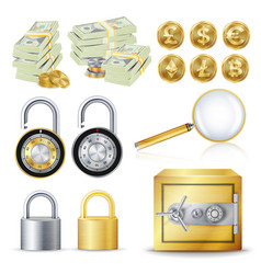 finance secure concept gold coins money vector image