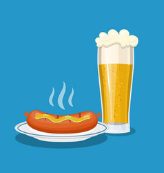 glass mug of beer and plate with sausage vector image vector image