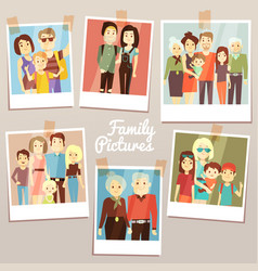 happy family pictures with different generations vector image vector image
