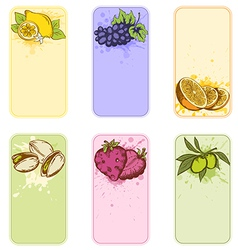 Set of vintage labels with fruits vector image