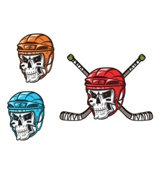 Skull with ice hockey amunition vector image vector image
