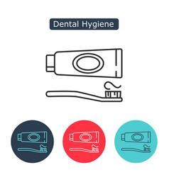 tube of toothpaste and tooth brush icon vector image vector image