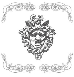 Vintage artistic print retro mythology design vector