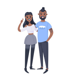 young couple hand drawn black woman and man flat vector image