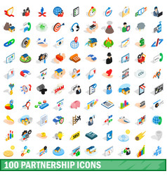 100 partnership icons set isometric 3d style vector image