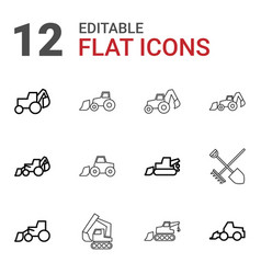 12 digger icons vector image