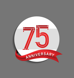 75 anniversary with white circle and red ribbon vector