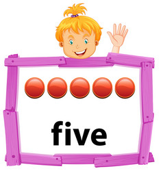 A girl showing number five banner vector