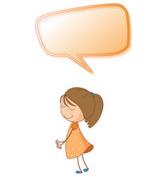 a girl with speech balloon vector image