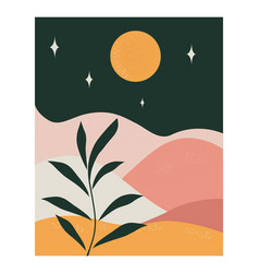 Abstract background with landscape at night vector