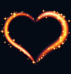 abstract design - fiery heart with glowing vector image