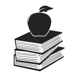 Apple on the books vector