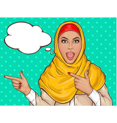 Arabic woman in hijab pointing fingers vector