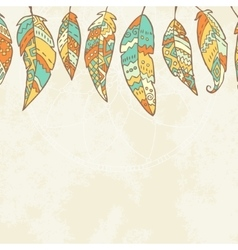 Background with tribal feathers dream catcher vector