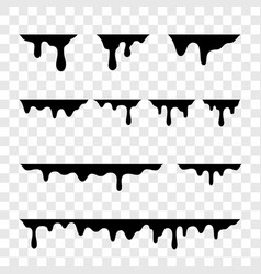 Black melt drips or liquid paint drops icons vector