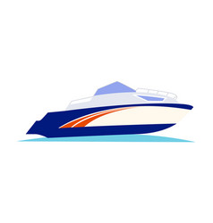 Blue and orange speed motorboat on white vector