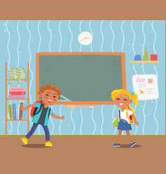 boy and girl pupils in school classroom vector image