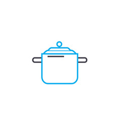 casserole for soup linear icon concept casserole vector image
