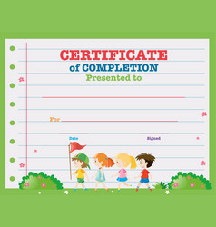 Certificate template with kids walking in the park vector