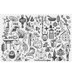 China hand drawn doodle set vector