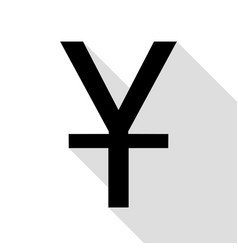 chinese yuan sign black icon with flat style vector image