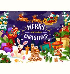 christmas holiday gift and xmas tree greeting card vector image