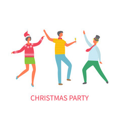 christmas party dancing friends celebrating vector image