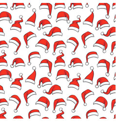 Christmas seamless pattern with hand drawn red vector