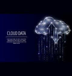 Cloud storage polygonal art style vector