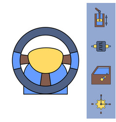 Collection of icons and car parts vector