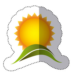 Color sticker with sun over green hill vector