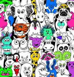 Colorful Bright Seamless Pattern With Animals vector image