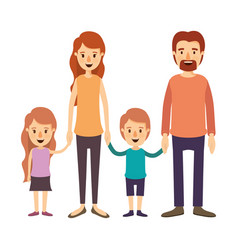 Colorful image caricature family group with vector