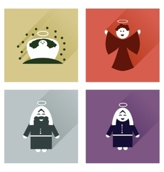 Concept of flat icons with long shadow holy Family vector