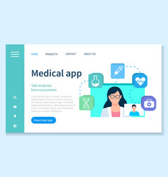 Consultation with doctor online medical app vector