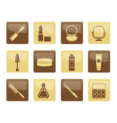 cosmetic and make up icons over brown background vector image