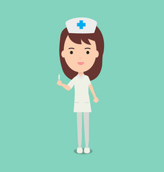 cute nurses and medical staff hold syringe vector image