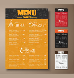 Design a menu for the cafe shops or coffee shops vector image