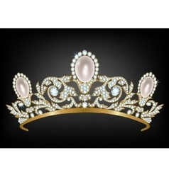 Diadem with diamonds and pearls vector