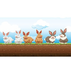 Easter rabbits standing on the ground vector