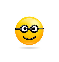 emoji smile icon symbol nerd smiley face yellow vector image