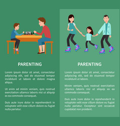 father and son playing chess family roller skating vector image