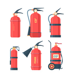 fire extinguishers set autonomous chemical powder vector image
