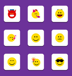 Flat icon face set of happy joy have an good vector