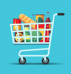 Full supermarket shopping cart shop trolley with vector
