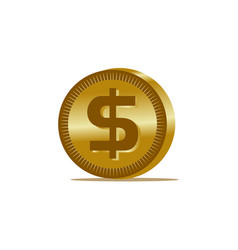 gold dollar coin icon vector image