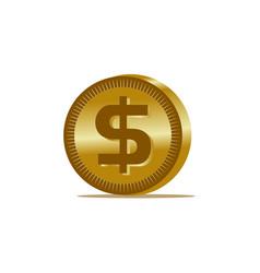 gold dollar coin icon vector image